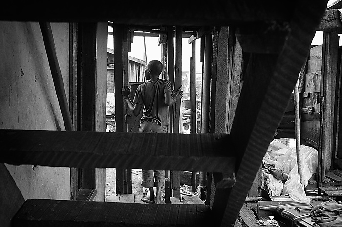 A boy looking out in Makoko